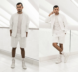 Jorge Gallegos - H&M Mesh T Shirt, Matiere Jacket, Matiere Shorts, Greats Sneakers - White On White