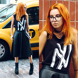Ashley Laderer - Social Decay Tank Top, Forever 21 Leather Midi Skirt, Ami Clubwear Platform Boots - MATCHING THE TAXI