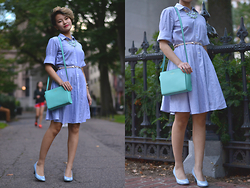 Julie Đặng - Ann Taylor Full Skirt Shirt Dress, Kate Spade Cedar Street Hayden Crossbody, Life Stride Parigi Pebble Pump, Brooks Brothers Gem Necklace - Late September // New blog @ theposhspotblog.com