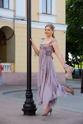 Margo Kruzz - Accsessorise Bag, Brosh Earrings, Exclusively Ukrainian Designer Dress - Lilac fantasy exclusively by Ukr designer