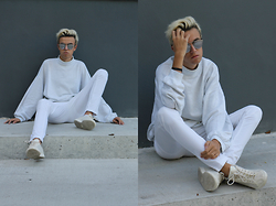 Emil D - Zara Pants, Adidas Shoes, Vintage Sweater, Dior Homme Sunglasses - White