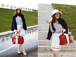Helena Ivanova - Striped Top, Navy Blue Jacket, Glasses - Water Drops and Stripe Outfit !