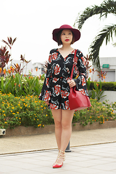 Prudence Yeo - Mds Collections Corine Floral Romper, Valentino Rudy Red Bucket Bag - Corine Floral Romper