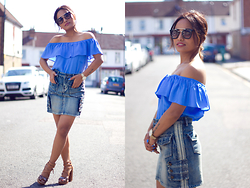 Suzi Shrestha - Miss Selfridge Top, Missguided Sunglasses, New Look Shoes - Blue is Everything