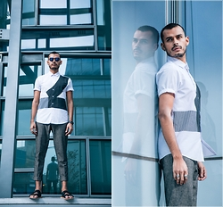 Jorge Gallegos - Asos Shirt, H&M Sunglasses, Asos Pants, Asos Leather Sandals - Sharp Lines