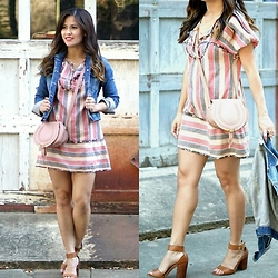 Quynh Tran - Marc By Jacobs Striped Shift Dress, Steve Madden Estoria Heels, Chloe Mini Marcie, French Connection Denim Jacket - Thrifted