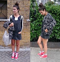 Julia - Bershka Dress, Motel Top, H&M Bomber Jacket, Adidas Sneakers - CREEPING INTO AUTUMN