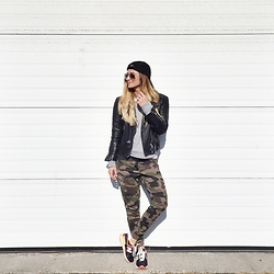 Lena Antonacci - All Saints Leather Jacket, Ardene Camo Sweatpants - Badass mama
