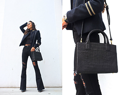 Linh Niller - Emily Cho Black Croc Embossed Leather Bag, Asos Flared Distressed Jeans, H&M Military Jacket - Flared x Military