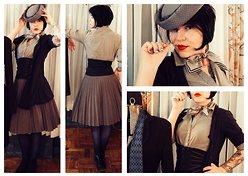 Whitney George - Pins And Needles Gray Pleated Skirt, H&M Pinstripe Fitted Shirt, Allsaints Blackest Blue Asymmetrical Cardigan, American Apparel Navy Knee High Fishnets, Beacons Closet Gray Felt Hat With Netting, Christian Dior Gray Silk Scarf With Blue And White Border, Vertigo Heather Gray Waist Cincher - Runaway