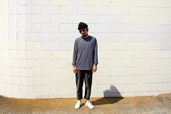 Dan Pantoja - American Apparel Black Cuffed Beanie, As Colour Base Navy/White L/S Tee, Country Road Grey Trousers, Adidas Classic Stan Smiths - LIGHT BEAM Δ
