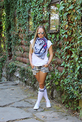 Mary Ryabich - Ebay Sunglasses, Kawaiifactory Scarf, Shapovalova T Shirt, Incity Denim Shorts, Ebay Socks, Converse Sneakers - Eye of a tiger
