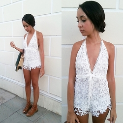 Esther L. - Wholesalebuying Floral Jumpsuit, Missguided Gladiator Sandals - LACE FLORAL JUMPSUIT