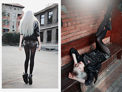 Anna Jaroszewska - Mango Faux Leather Jacket, Miss Denim Shorts, Cropptown Shoes, Reserved Star Wars T Shirt - A Trip