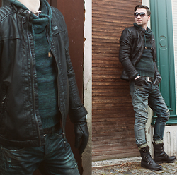 Philipp Berndt - One Green Elephant Jeans, Pull&Bear Leather Jacket, Bershka Jacquard, Ray Ban, H&M Leather Gloves, Asos Pacific Rim - Green Autumn