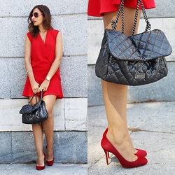 Silvia Rodriguez - Les Petites Dress, Christian Louboutin Stilettos, Liu Jo Bag, Salvatore Ferragamo Sunglasses - Lady in red
