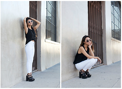 Atsuna Matsui - Marshalls Black Top, Topshop Petite Moto White Wash Joni Jeans, Tobi Harper Grace Heels, Lone Wolf Accents Criss Cross Body Chain Harness Halter - Chained