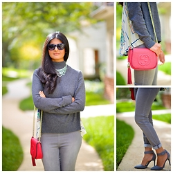 Zunera Serena - Anthropologie Rona Turtleneck, Gucci Soho Chain Leather Bag, H&M Teggings, Nordstrom Pumps - All Greyed out!-Grey Turtleneck with teggings