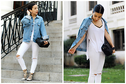 Vivi Valenzuela - Levi's® Vintage Levi's Denim Jacket, Nasty Gal Side Split White T Shirt, Topshop White Ripped Leigh Jeans, Asos Lace Up Snake Flats - THE DENIM JACKET