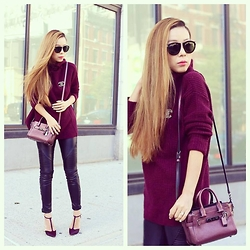 Sasa Zoe - Sweater, Bag, Shoes, Pants, Sunglasses - BURGUNDY SWAGGER