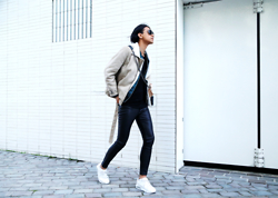 John Setrodipo - Hm Pleather Pants, H&M Lammy Coat, Nike Air Max, Topman Tee, Zara Shoulder Bag, Porsche Design Aviator - Lammy coat