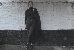 Elly Sutherland - New Look Black Ribbed Roll Neck, Zara Loose Fit Trousers, Office Lace Up Block Heels, Michael Kors Blue Oversized Coat - NOW SHE ROLLS WITH ROCKEFELLERS