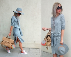 Joanna L - Boohoo Dress, H&M Hat, Rita Ora For Adidas Sneakers - Just grey