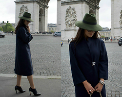 Edisa Shahini - Custom Made Coat, Mani Manilda Shoes, H&M Hat - ARC DE TRIOMPHE