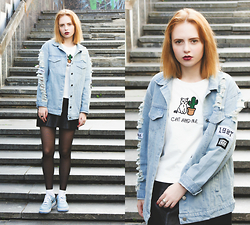 Kristina Magdalina - Shein Denim Coat, Choies T Shirt - Cat lover.
