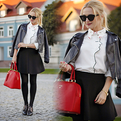 Daria Darenia - Asos Glasses, Kappahl Jacket, Romwe Shirt, Barada Bag - Face Shirt