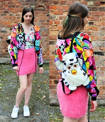 Nichola Rose - Primark Skirt, We Are Cow Jacket - FLUFFY SKIRT x VINTAGE JACKET