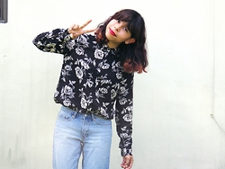 Brisa Gomez - Forever21 Floral Long Sleeve, Cheap Monday Jeans - Peace