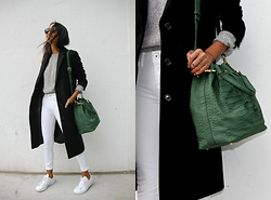 Linh Niller - Emily Cho Emerald Bucket Bag, J.Crew Long Black Wool Coat, Dl1961 Denim White Skinnys, Cos Knit Grey Sweater - Elevated Basics