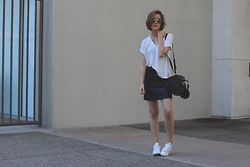 Hannah N - Urban Outfitters Sunnies, Zara White T, Zara Leather Skirt, Zara Bag, Adidas Stan Smiths - Nine Forty