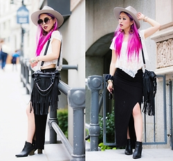 Aika Y - Ebay Fringe Bag, Zara Maxi Scart, Buffalo Exchange Grey Hat, Charlotte Russe Ankle Booties, Freyrs Round Sunglasses - Black x White x Pink