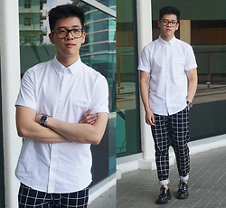 Angel Tacbad - Topman Oxford White Shirt, Forever 21 Grid Joggers, Dr. Martens Kristinn Leather Shoes - Electro Grid