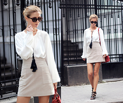 Sirma Markova - H&M White Blouse With Tassels, Mango Suede A Line Skirt, Marks & Spencer Sandals, H&M Suede Mini Bag, Spektre Sunglasses, Take My Yellow Dress Rings - It's Suede Season