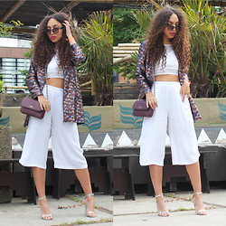Larissa B. - New Look White Culottes, Topshop Multicolor Jacket Jacquard, Zara White Crop Top, Missguided Silver Strappy Heels, Dkny Purple Burgundy Crossbody Bag, Kyomi Brown Sunnies Sunglasses - The perfect jacket