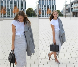 Sofie Clausen - H&M Top, Zara Jacket, Gina Tricot Skirt, Saint Laurent Bag, Pbo Shoes, Maanesten Bracelets - Casual saturday