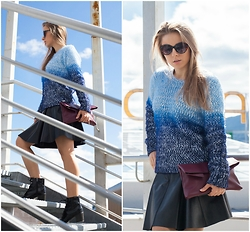 Zvezdelina Tsolova - Mohito Sweater, Pinko Leather Skirt, Mohito Bag, Marks&Spencer Boots, Reserved Eyewear - Sky blue ombre