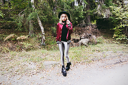 Catarina S. - Lindex Hat, Forever 21 Headband (Worn As A Scarf), Lindex Polo Top, Nelly.Com Disco Pants, River Island Wedges - ► Step - Crooked Colours