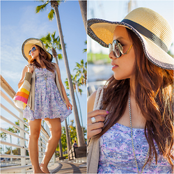 Lily S. - Dress, Hat, Bag, Vest, Sunglasses, Necklace - Long Beach // Instagram @pslilyboutique