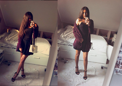 Sophie Medina - Zara Top Noir, Zara Jupe Noir, New Look Pulls Mauve, New Look Talon Noir, Calvin Klein Sac Croco - Last night