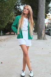 Cátia Sousa - Dress In Two Piece White, Vintage Blazer, Spartoo Shoes - Clearence