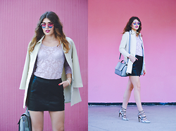 Diana Ior - Zara Leather Skirt, Bershka Lace Body, New Yorker Heart Shaped Glasses, Stradivarius Blazer - Candy