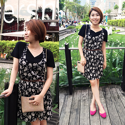Reina (Ree) - H&M Floral Dress, Steve Madden Pink Slip On - Vintage floral dress with pink slip-on