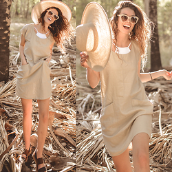 Elle-May Leckenby - Natural Woven Dress, Cream Framed Shades - Natural Springs