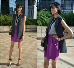 Rita Aflyatunova -  - Striped blouse & grey vest