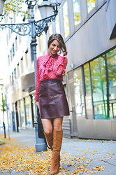 Stephanie Van Klev - Hallhuber Bow Blouse, Zara Fake Leather Skirt, Zara Boots, Balenciaga Bag - Pink October