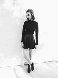 Neddy Ley - Charlotte Russe Black Turtleneck, Q High Waisted Leather Skirt, Charlotte Russe Black Ankle Boots - All Black Street Look
